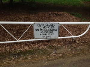 The Park is closed to vehicles on Wednesday. You will have to park in the residential neighborhood and walk if you want to get to the playground.